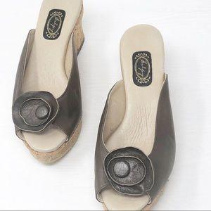 Salpy | Women's Brown Leather Wedge Cork Sandals